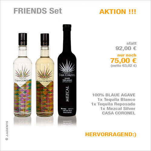 FRIENDS Set 100% AGAVE CASA CORONEL 1xB+1xR+1xM